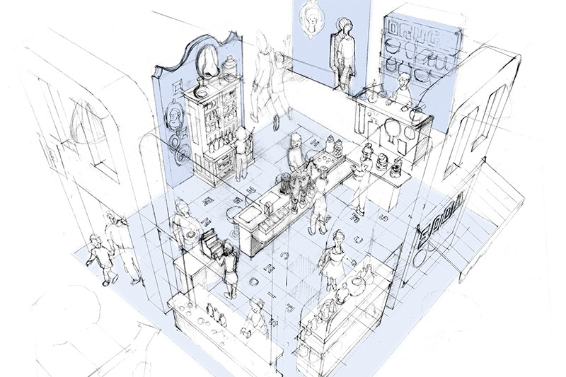 Preliminary sketch of the Chemistry exhibit